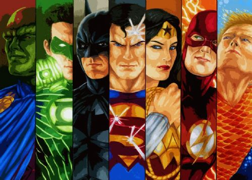 JUSTICE LEAGUE AMERICA - COMIC STRIPS canvas print - self adhesive poster - photo print